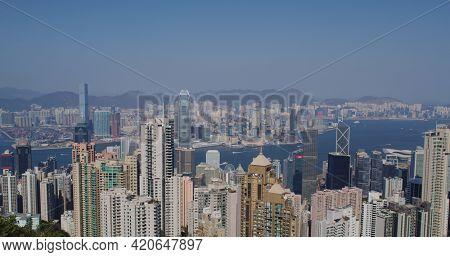 Victoria Peak, Hong Kong 05 February 2021: Hong Kong city