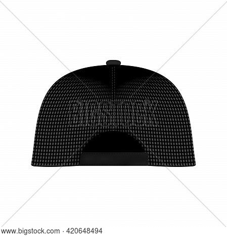 Black Baseball Cap. Realistic Back Front And Side View White Baseball Cap Isolated On White Backgrou