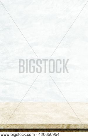 Empty Vertical Brown Cement Table Over White Cement Wall Background, Banner, Table Top, Shelf, Count