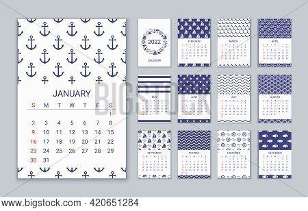 2022 Calendar. Vector. Week Starts Sunday. Calender Template In Nautical, Marine Style. Yearly Organ
