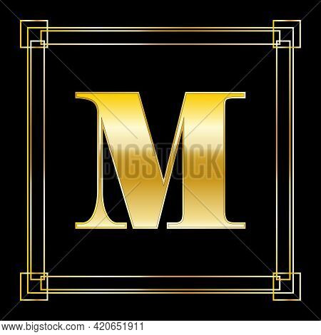 Letter M Logo Design With Square Ornament, Luxury Golden Design, Vector Illustration