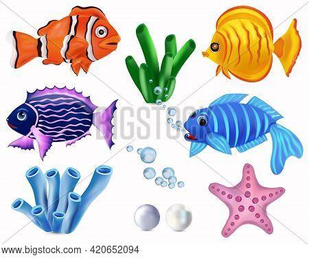 Underwater World, Tropical Fish. Clownfish, Addis Butterfish, Starfish, Seaweed. Cartoon Character.