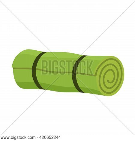 Cartoon Camping Roll Mat. Sleeping Mat Roll Icon Over White Background. Vector Illustration In Flat
