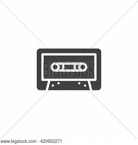 Cassette Tape Vector Icon. Filled Flat Sign For Mobile Concept And Web Design. Audio Cassette Glyph