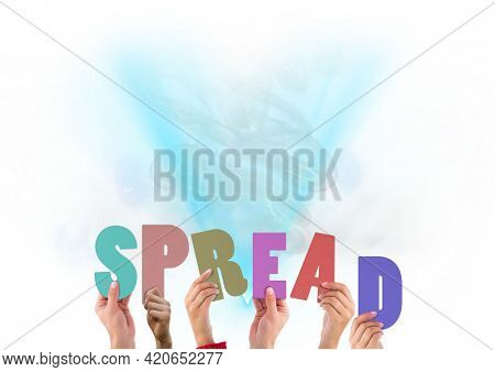 Composition of spread multi coloured letters held by people with blue smoke. global pandemic and healthcare concept digitally generated image.