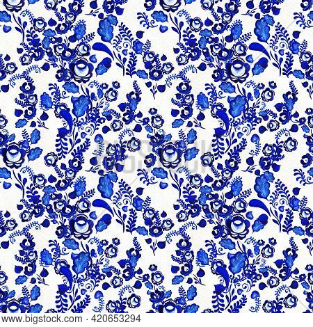 Blue Floral Seamless Pattern In Russian Gzhel Background