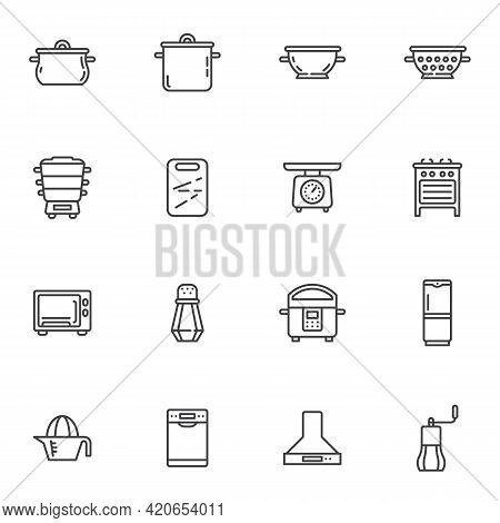 Kitchen Appliances Line Icons Set, Outline Vector Symbol Collection, Linear Style Pictogram Pack. Si