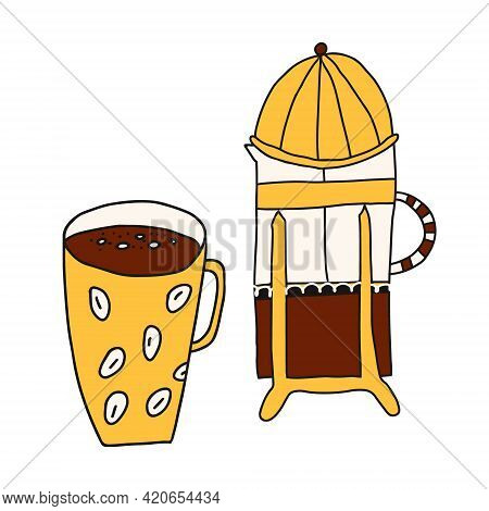 Hand Drawn Doodle Cartoon Vector Illustration With Warm Yellow-orange Colors Of French Press Coffee
