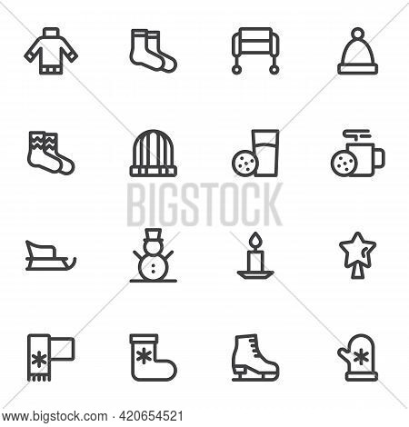 Winter Season Related Line Icons Set, Outline Vector Symbol Collection, Linear Style Pictogram Pack.