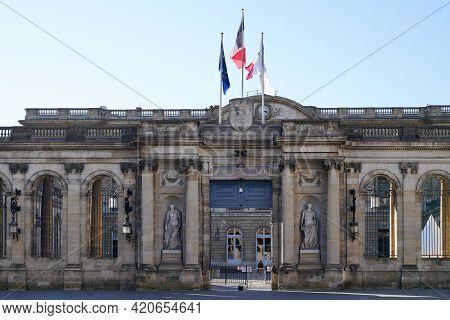 Bordeaux , Aquitaine France - 05 14 2021 : Palais Rohan City Hall Facade In Town Center Of Bordeaux
