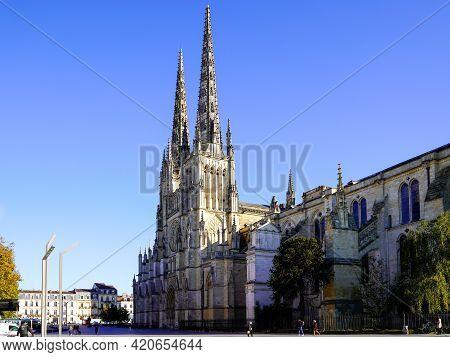 Bordeaux , Aquitaine France - 05 14 2021 : Famous Cathedrale Saint-andre Facade In Bordeaux City Fra