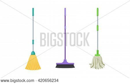 Mop And Broom With Long Pole For Cleaning And Sweeping Floors Vector Set