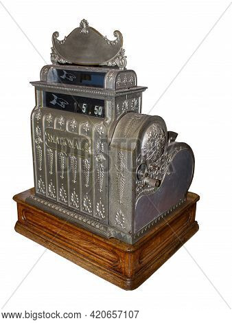 Antique Retro Cash Register Isolated On A White Background. Old National Cash Register Front View