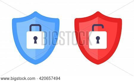 Wireless Shield With Text Vpn And No Vpn Wifi Icon Sign Flat Design Vector Illustration. Wifi Intern
