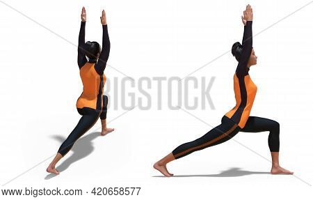 3d Illustration Of Back Three-quarters And Right Profile Poses Of A Woman With Sport Outfit In Yoga