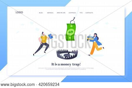 Fishing Money Chase Business Concept With Business People Running After Dangling Dollar And Trying T