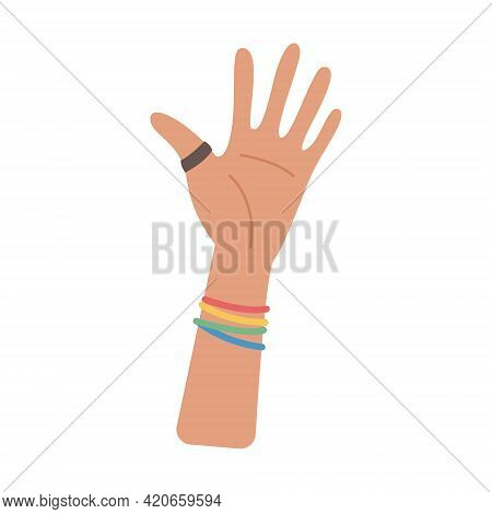 A Person Waving Hand With Ring And Rainbow Colored Decoration. Element For Pride Month Celebration.
