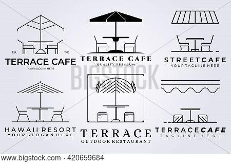 Set Bundle Terrace Cafe Logo Vector Icon Illustration Symbol Design Coffee Shop