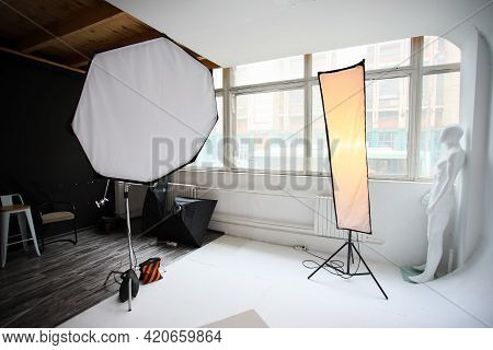 Orthobox And Strip Lights In A Professional Photo Studio. Photo Studio, Lighting Fixtures, White End