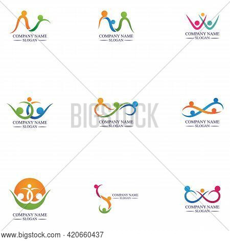 Set Of Family Care Infinity Logo Familly Illustration Logo Template Design