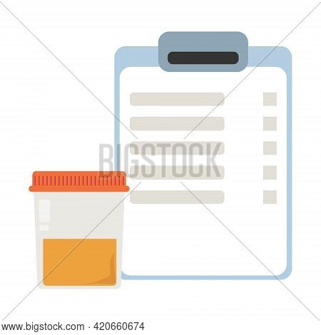 Analysis Of Urine, Urine Test Results And Container With Biological Material Vector Illustration