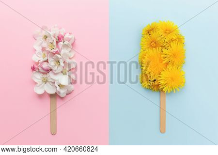 Greeting Card Concept Collage Flat Lay On Pink And Blue Background With Apple And Dandelion Blossom