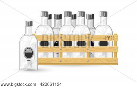 Cartoon Package Of Bottles With Strong Russian Drink. Vector Premium Quality Drink, Russian Booze, A
