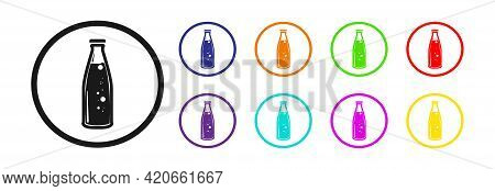 Bottle Of Soda In Different Colors On A White Background. Vector Icon.