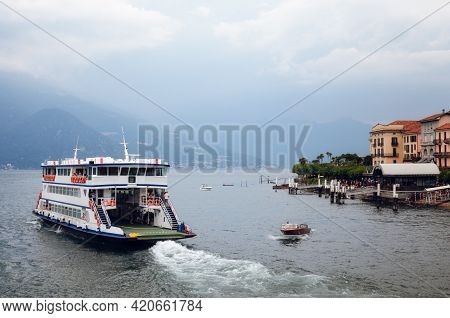 Cloudy Misty Morning View Of The Harbor And Village Of Bellagio, Small Town On The Como Lake, Italy,