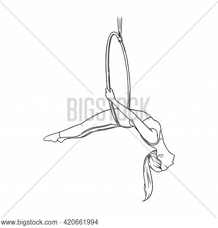 Circus Acrobat Balancing In The Aerial Ring. Gymnast In The Hoop Isolated In White Background. Sketc