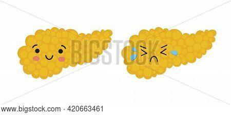 Happy And Crying Kawaii Character Of Pancreas. Drawing Of Health And Sick Pancreas. Isolated Vector
