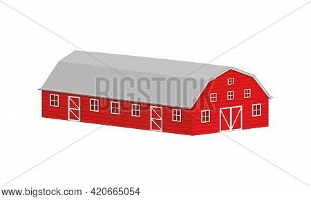 Wooden Red Barn With Steel Roof Isometric Projection. Farm Warehouse Building Isolated On White Back