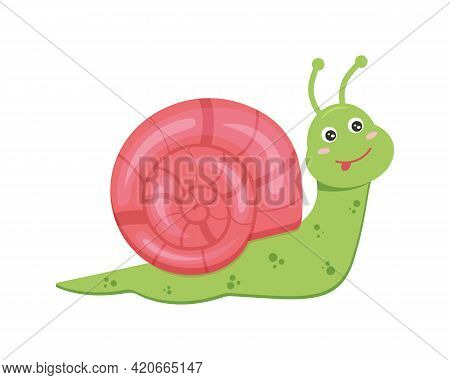 Cute Snail Character Isolated On White Background. Vector Cartoon Illustration For Kids.