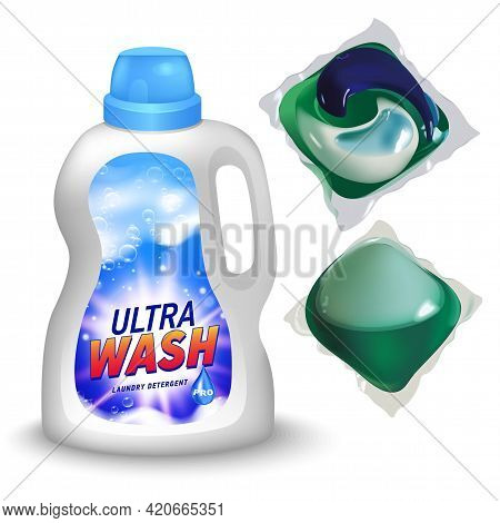 Realistic Mock Up Of Container For Liquid Detergent With Designed Etiquette. Detergent Package.