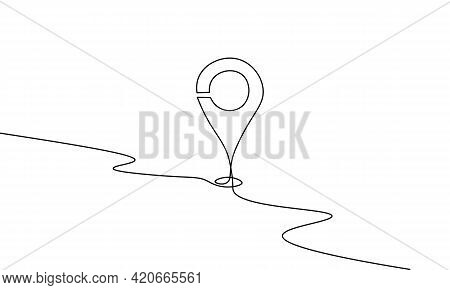 One Line Map Point Location Business Symbol. Continuous Lineart Icon Delivery Service Map Market. Sh