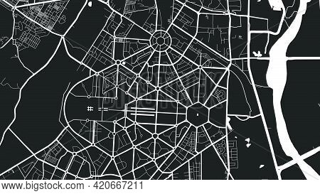 Black And White Delhi City Area Vector Background Map, Streets And Water Cartography Illustration. W
