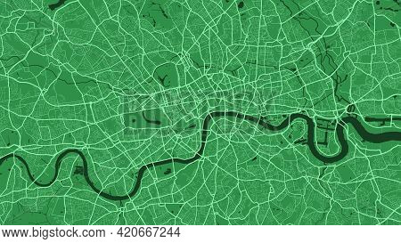 Green London City Area Vector Background Map, Streets And Water Cartography Illustration. Widescreen