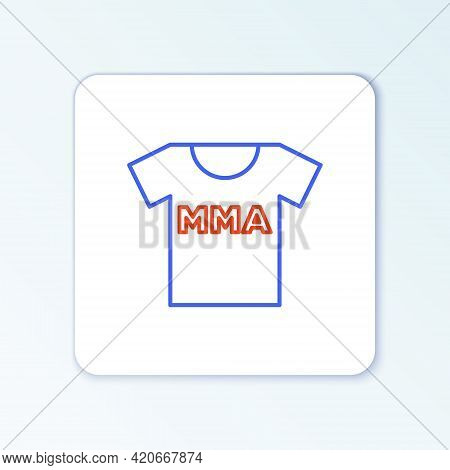 Line T-shirt With Fight Club Mma Icon Isolated On White Background. Mixed Martial Arts. Colorful Out