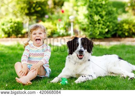 Cute Little Toddler Girl Playing With Family Dog In Garden. Happy Smiling Child Having Fun With Dog,