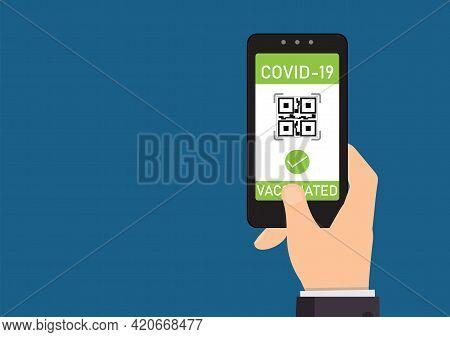 Tourist Using Immunity Passport App In Mobile Phone For Travel, Vector Illustration.