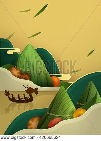 Dragon Boat Festival rice dumpling and ingredient recipe on paper graphic mountain scene background. Translation - Dragon Boat Festival, 5th of May Lunar calendar.
