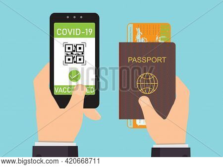 Vaccinated Person Using Digital Health Passport App In Mobile Phone For Travel During Covid-19 Pande