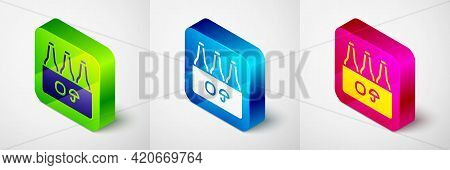 Isometric Pack Of Beer Bottles Icon Isolated On Grey Background. Case Crate Beer Box Sign. Square Bu
