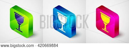 Isometric Holy Grail Or Chalice Icon Isolated On Grey Background. Christian Chalice. Christianity Ic