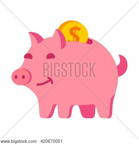 Piggy Bank With Gold Coins.budget Or Money Savings.