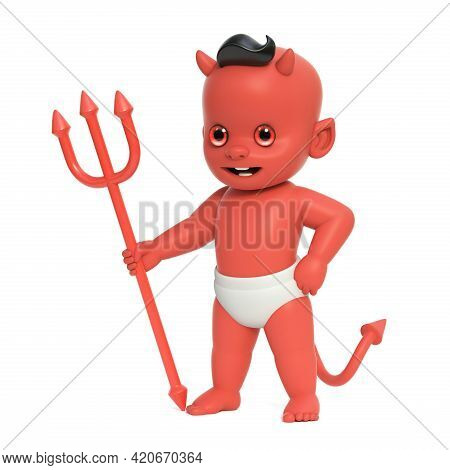 Red Baby Devil, Shoulder Devil With Horns And Tail Holding Trident, 3d Rendering