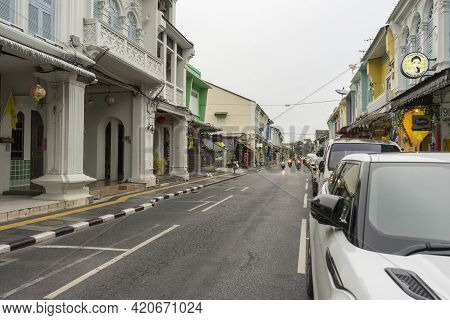Phuket,thailand - July 13,2018 : Street View Of Old Building In Old Town District Of Phuket,thailand