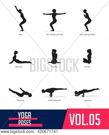 Silhouettes Yoga Poses Of Woman Doing Yoga Exercises In Flat Design. Icons Set Flexible Girl Stretch