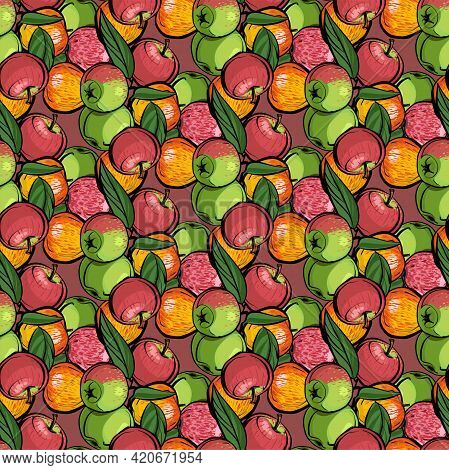 Seamless Pattern. Different Varieties Of Apples With Leaves On A Pink Background. The Ornament Is Co