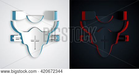 Paper Cut American Football Player Chest Protector Icon Isolated On Grey And Black Background. Shoul